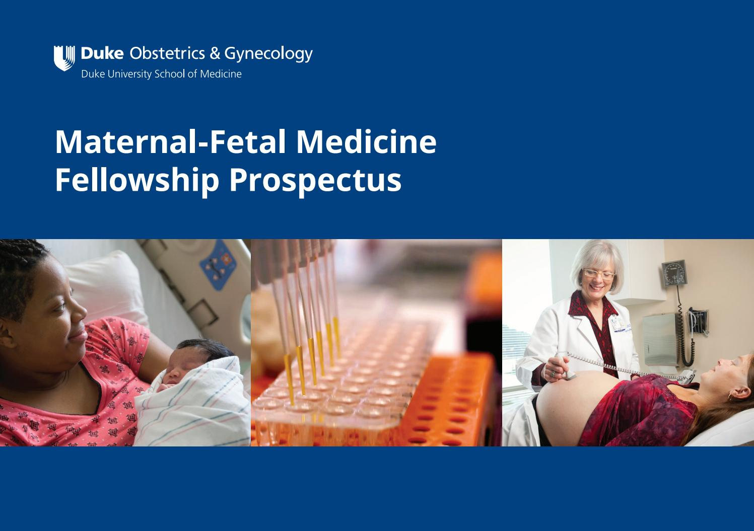 Duke Ob/Gyn Maternal-Fetal Medicine Fellowship Prospectus by