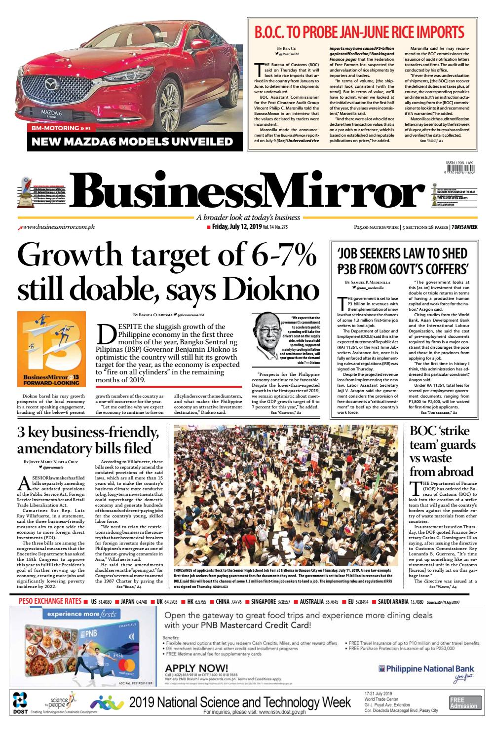 Businessmirror July 12, 2019 by BusinessMirror - issuu