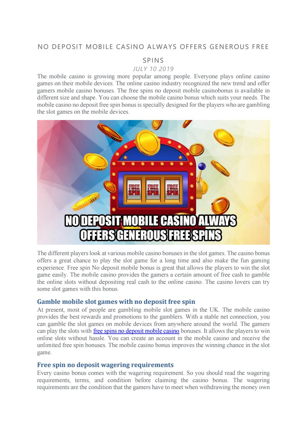 No Deposit Mobile Casino Always Offers Generous Free Spins By