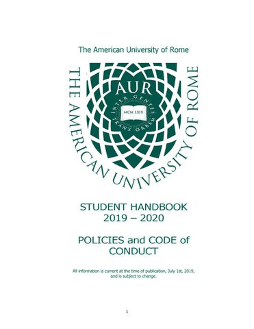 Student Handbook 2019 – 2020  The American University of Rome  by
