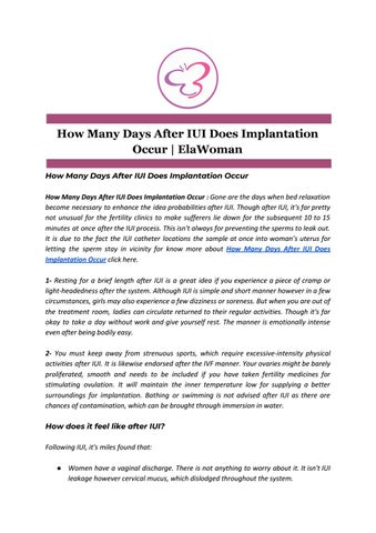 How Many Days After IUI Does Implantation Occur | ElaWoman