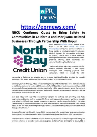 Page 1 of NBCU Continues Quest to Bring Safety to Communities in California and Marijuana-Related Businesses Through Partnership With Hypur