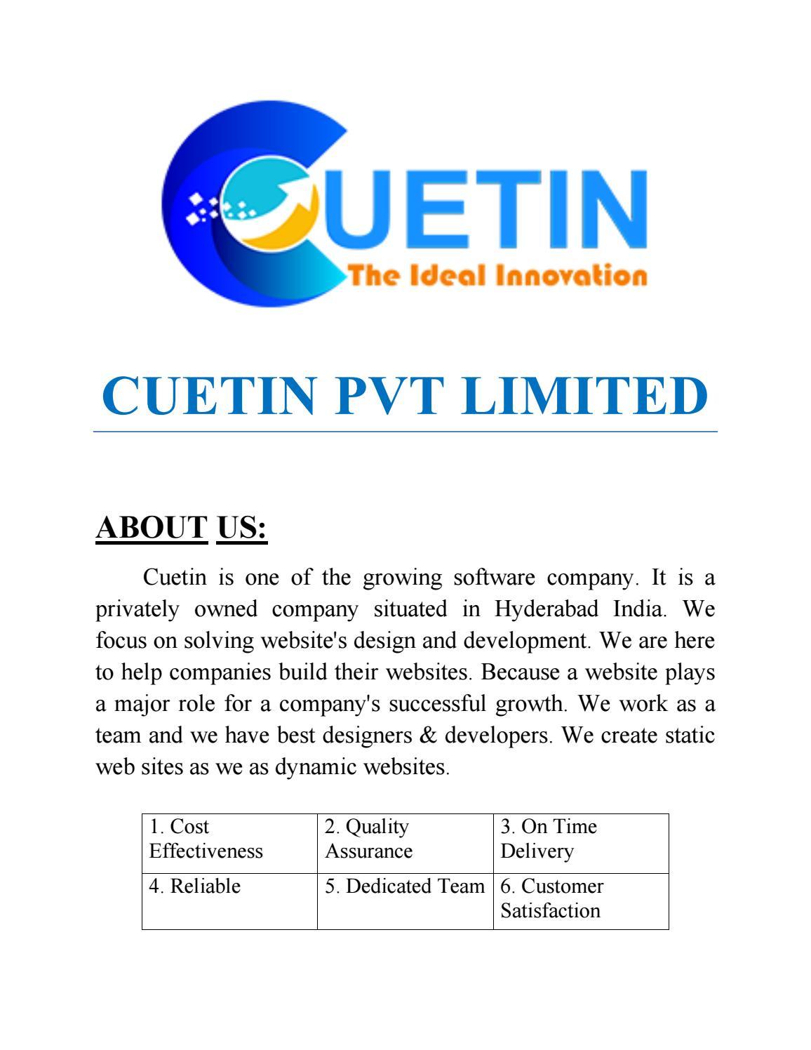 Cuetin Web Design Best Website Design Company In Hyderabad Best E Commerce Website Design Comp By Cuetin2019 Issuu