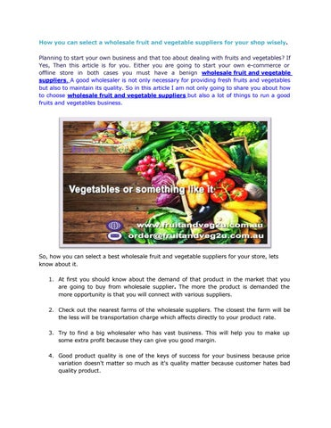 How you can select a wholesale fruit and vegetable suppliers for your shop  wisely