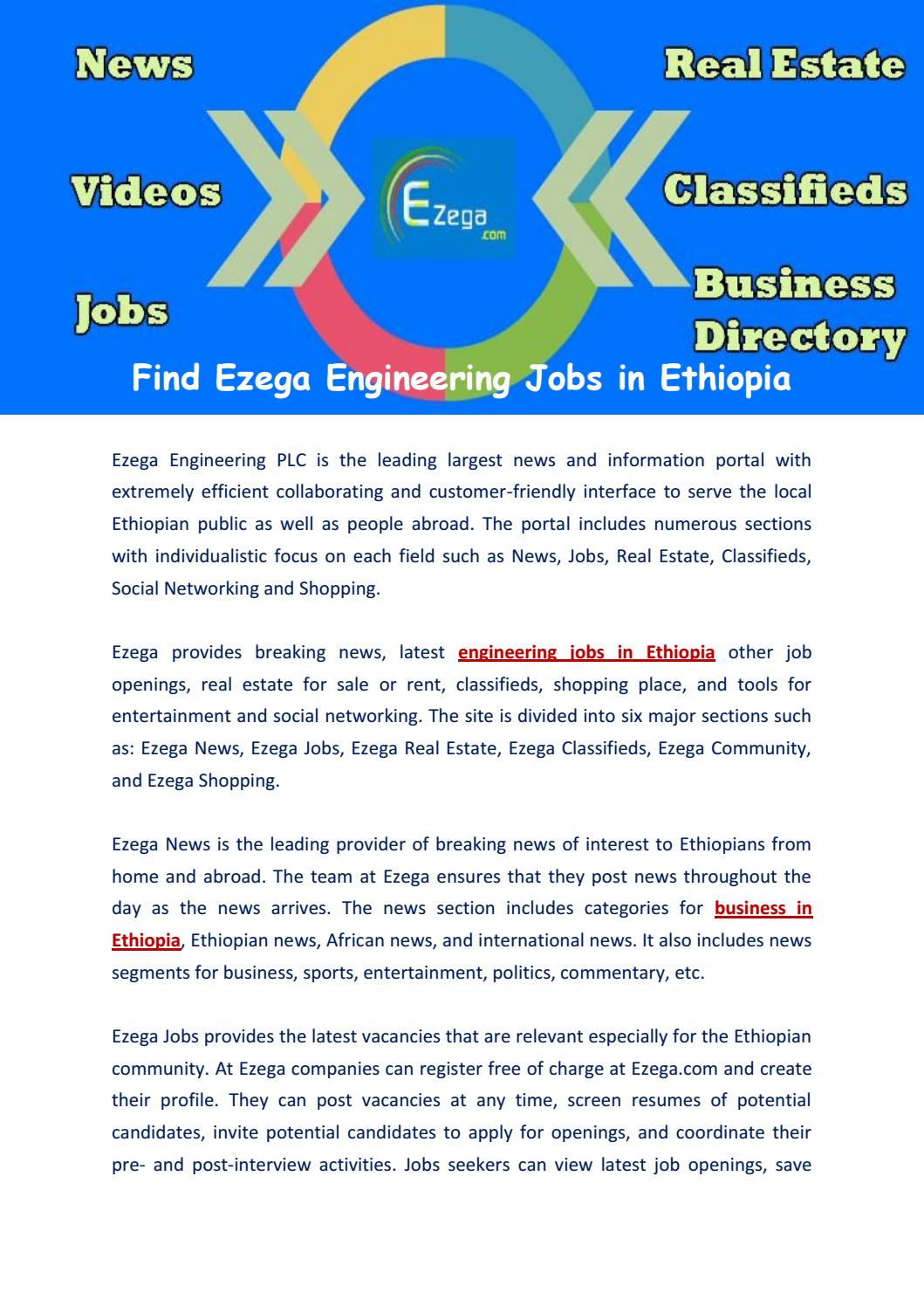 Find Ezega Engineering Jobs in Ethiopia by ezega - issuu