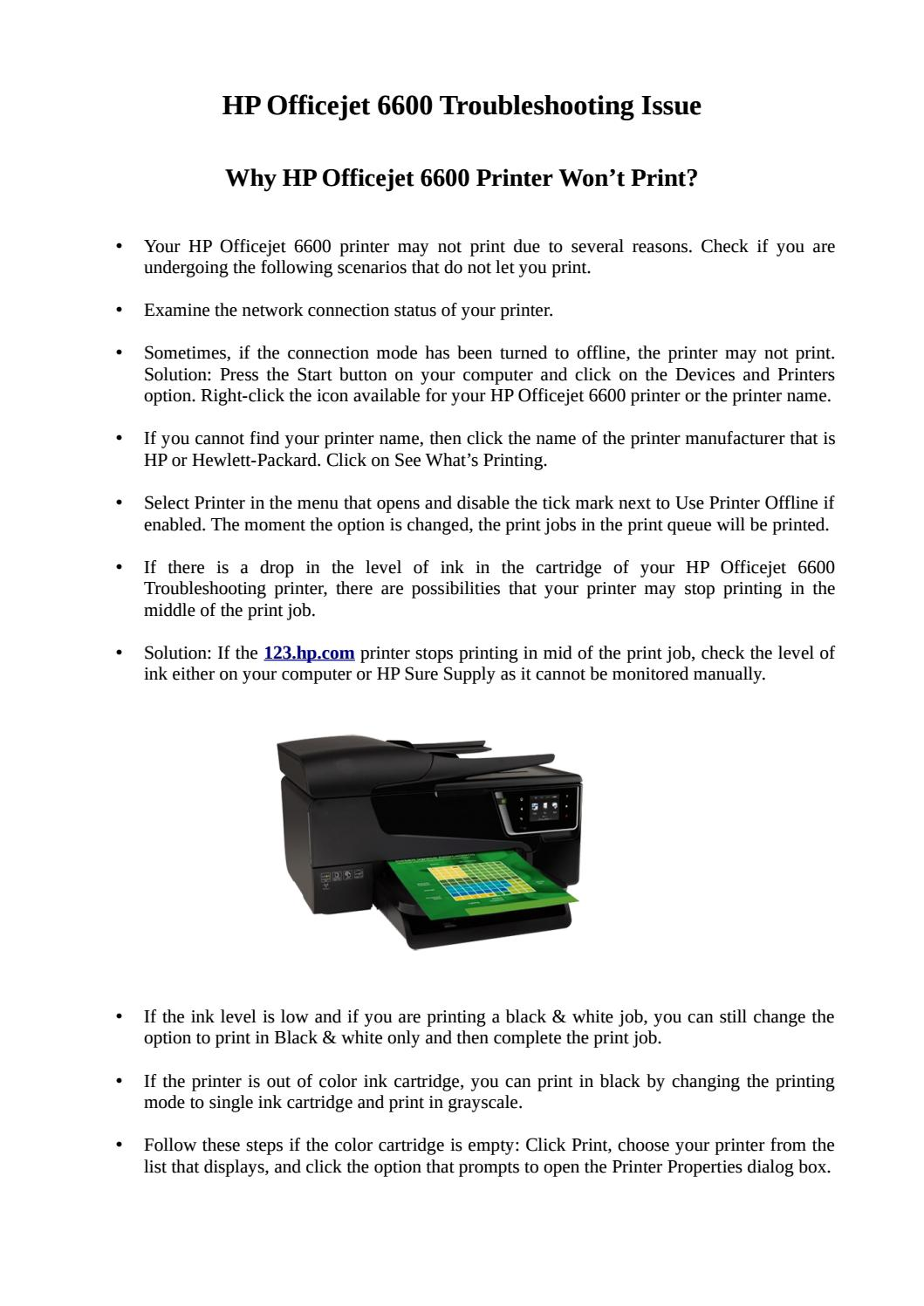 HP Officejet 6600 Printer Won't Print? by support assistsnt - issuu