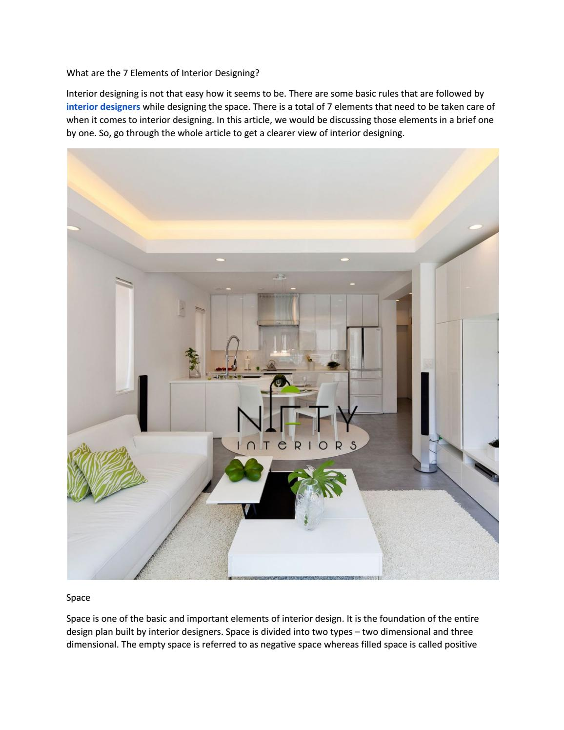 What Are The 7 Elements Of Interior Designing By Niftyinterio Issuu