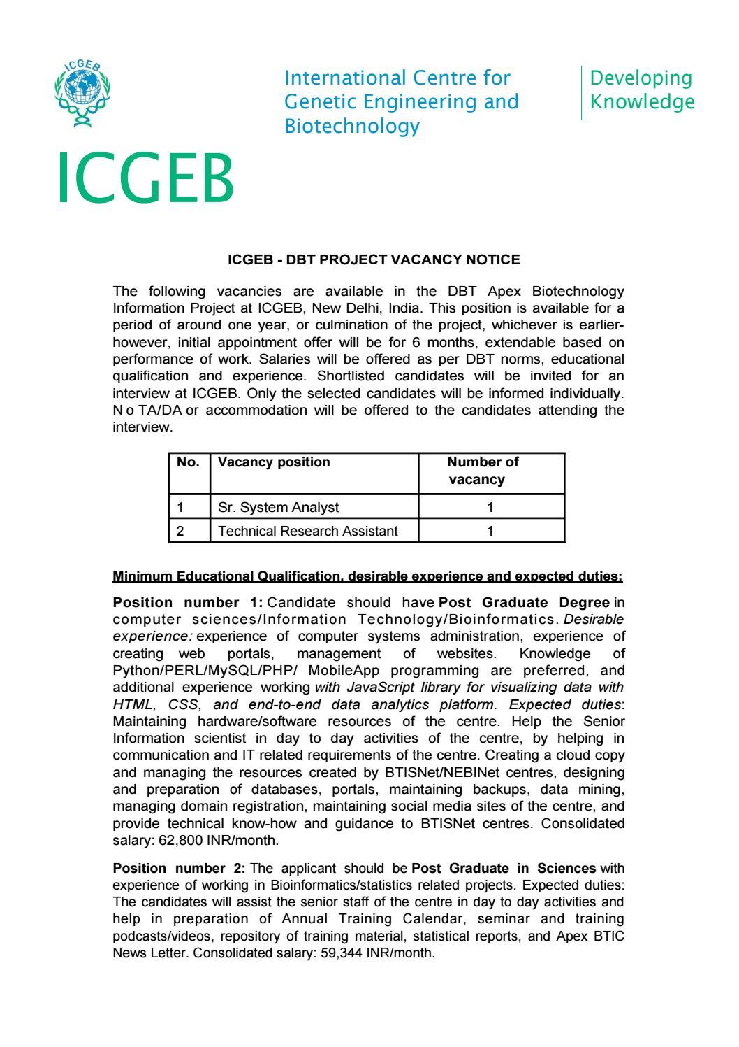 ICGEB MSc Bioinformatics Analyst Job With Rs  62,000 pm