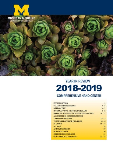 Year in Review 2018-2019 Comprehensive Hand Center by