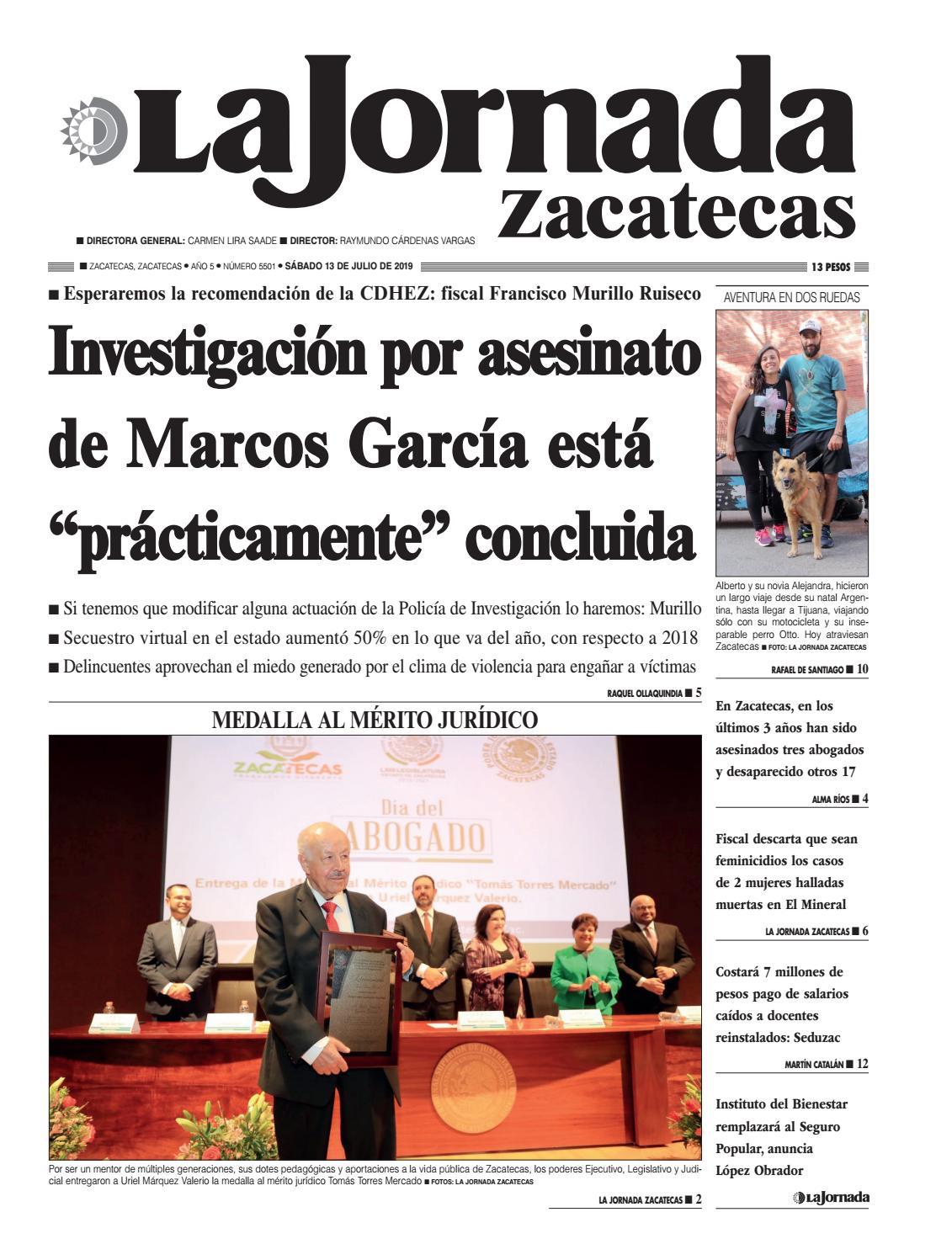 b56043875 La Jornada Zacatecas Sábado 13 de Julio de 2019 by La Jornada ...