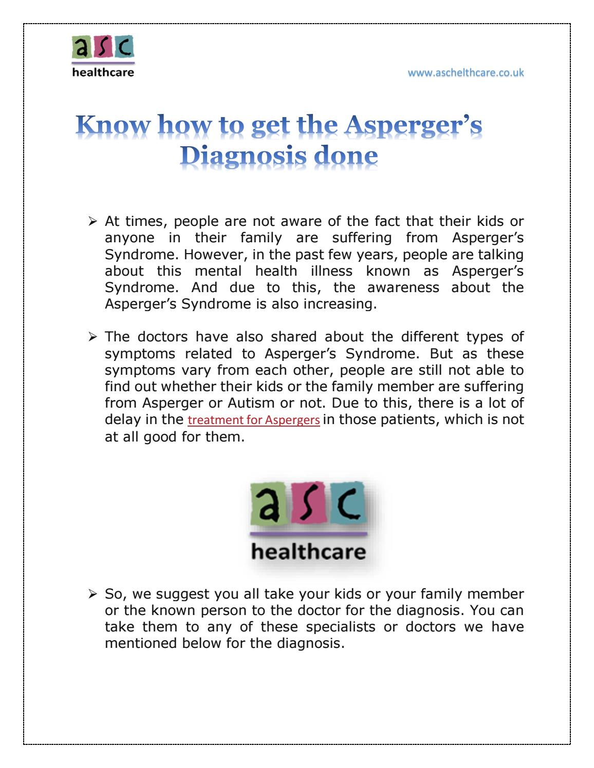 how to get diagnosed with aspergers
