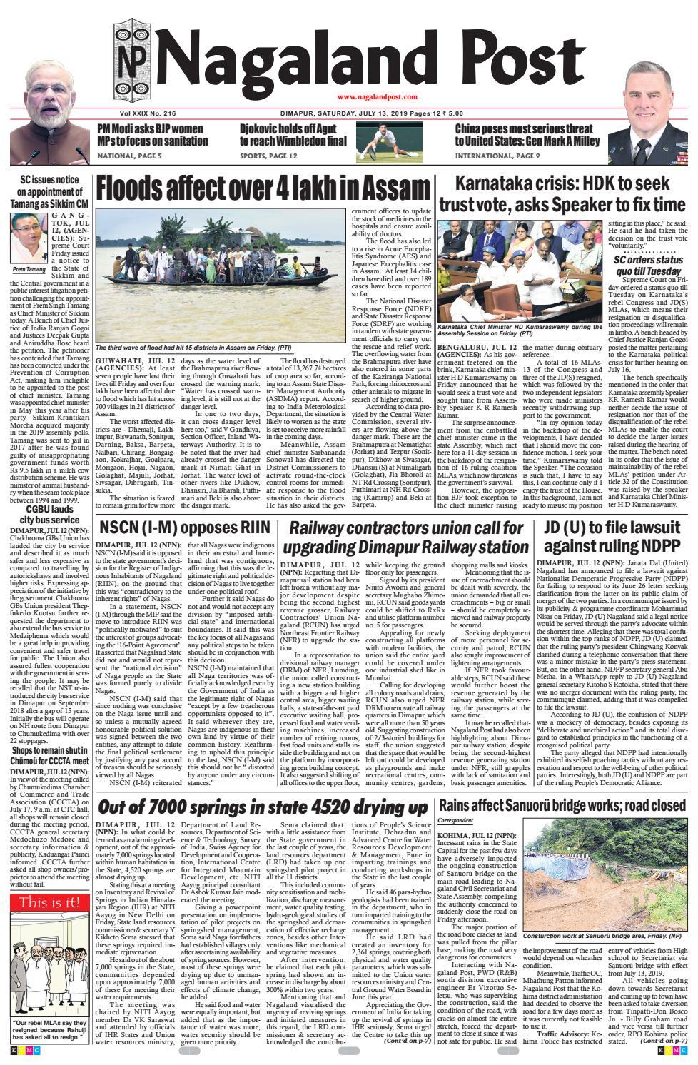July 13, 2019 by Nagaland Post - issuu