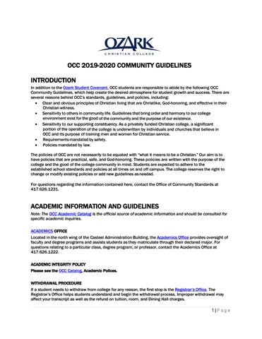 Occ Schedule Of Classes Summer 2020.Occ Community Guidelines By Ozark Christian College Issuu
