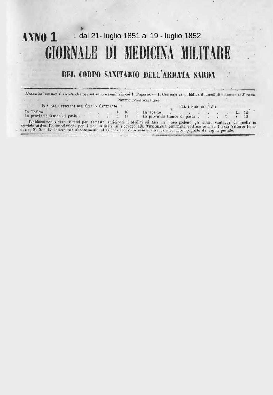 GIORNALE DI MEDICINA MILITARE Anno I by Biblioteca Militare