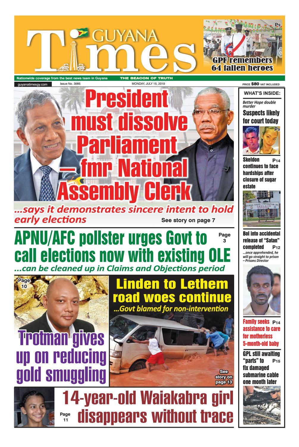 Guyana Times - Monday, July 15, 2019 by Gytimes - issuu