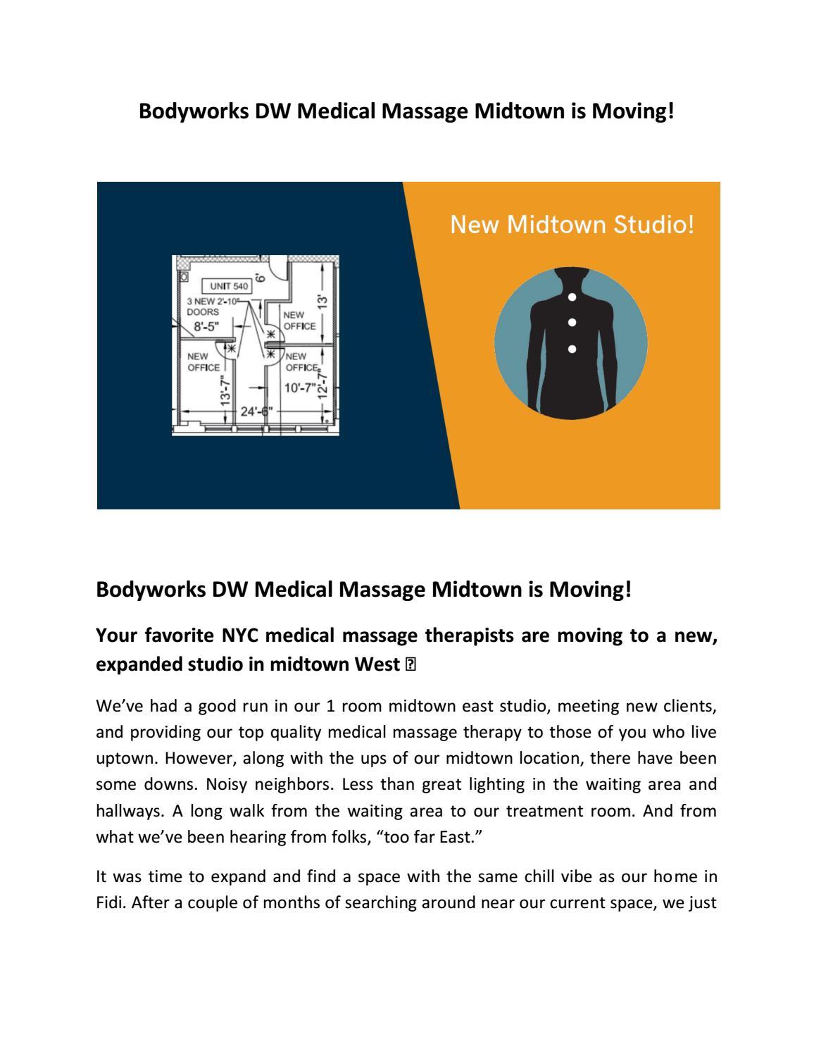 Bodyworks DW Medical Massage Midtown is Moving! by Bodyworks