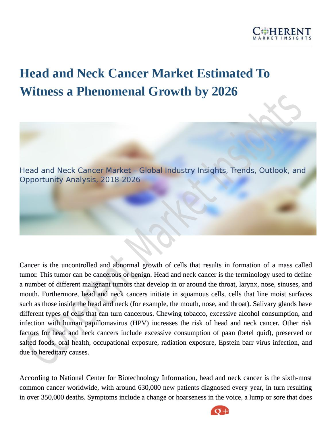Head and Neck Cancer Market To See Incredible Growth By 2026