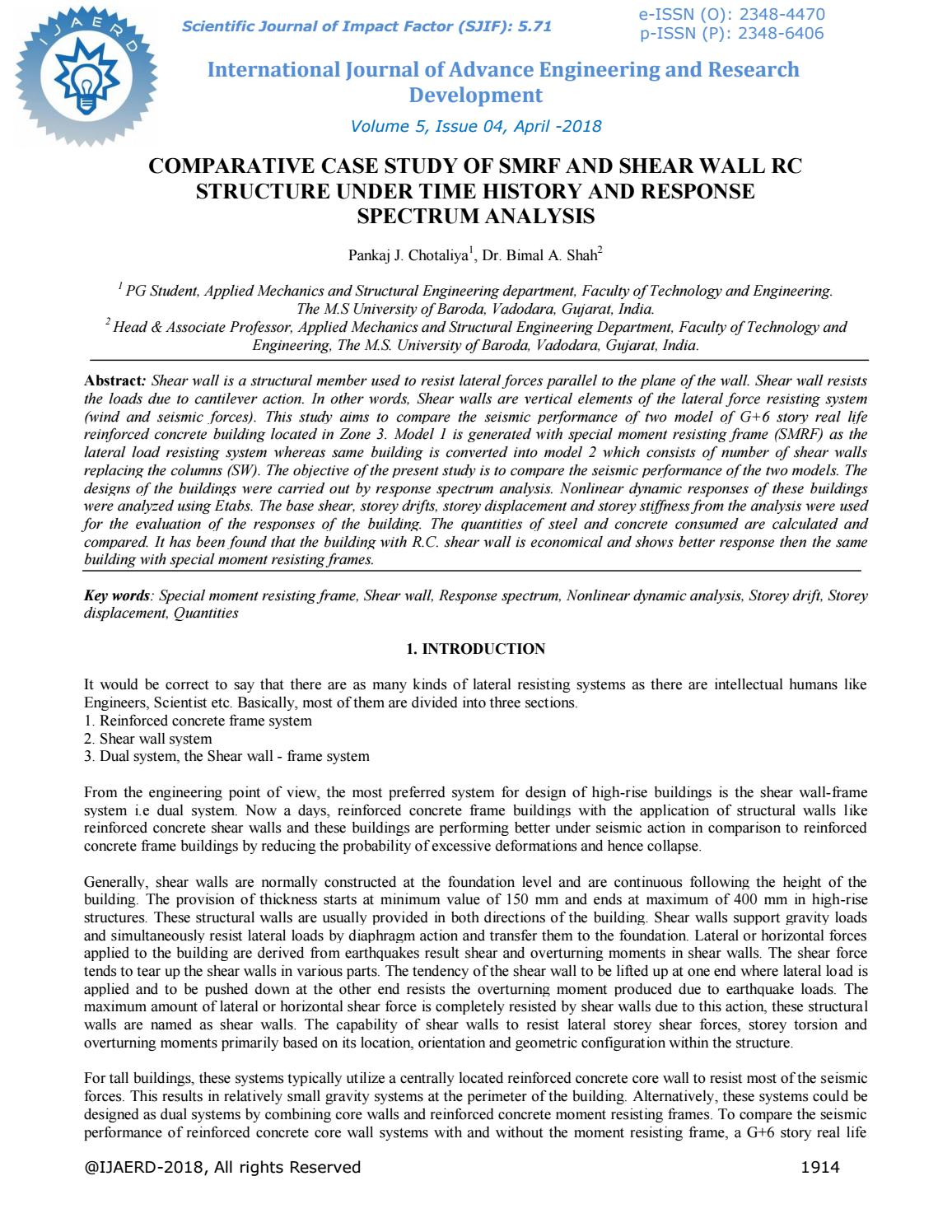 COMPARATIVE CASE STUDY OF SMRF AND SHEAR WALL RC STRUCTURE UNDER