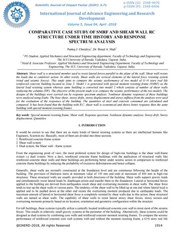 COMPARATIVE CASE STUDY OF SMRF AND SHEAR WALL RC STRUCTURE