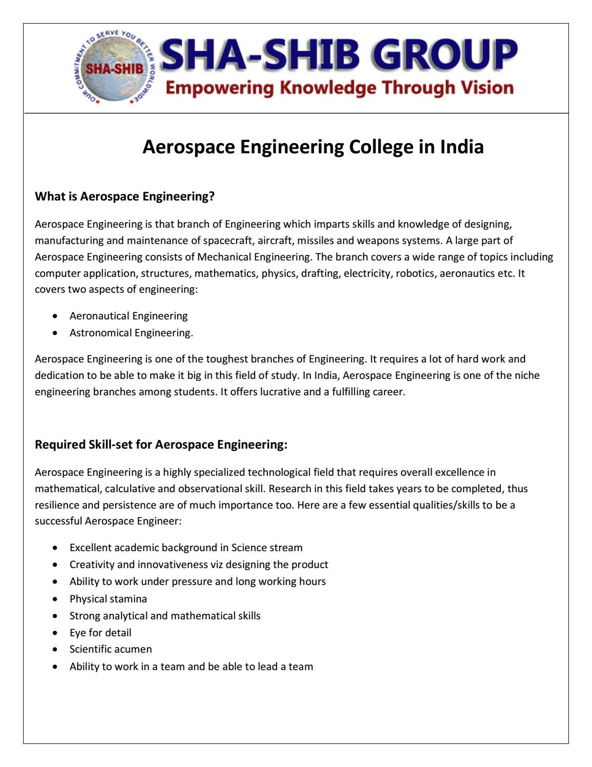Aerospace Engineering Colleges >> Aerospace Engineering College In India Sha Shib Group By