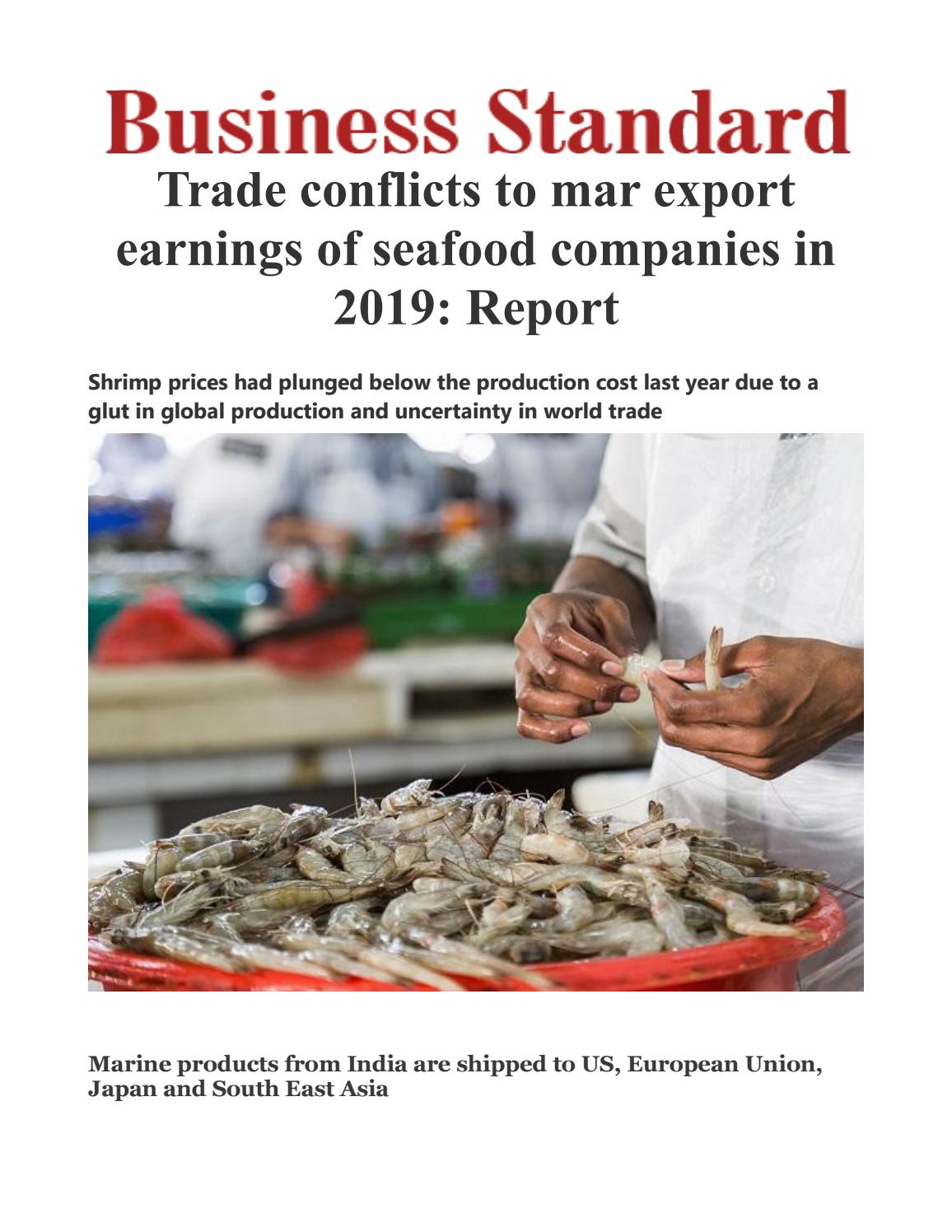 Trade conflicts to mar export earnings of seafood companies in 2019