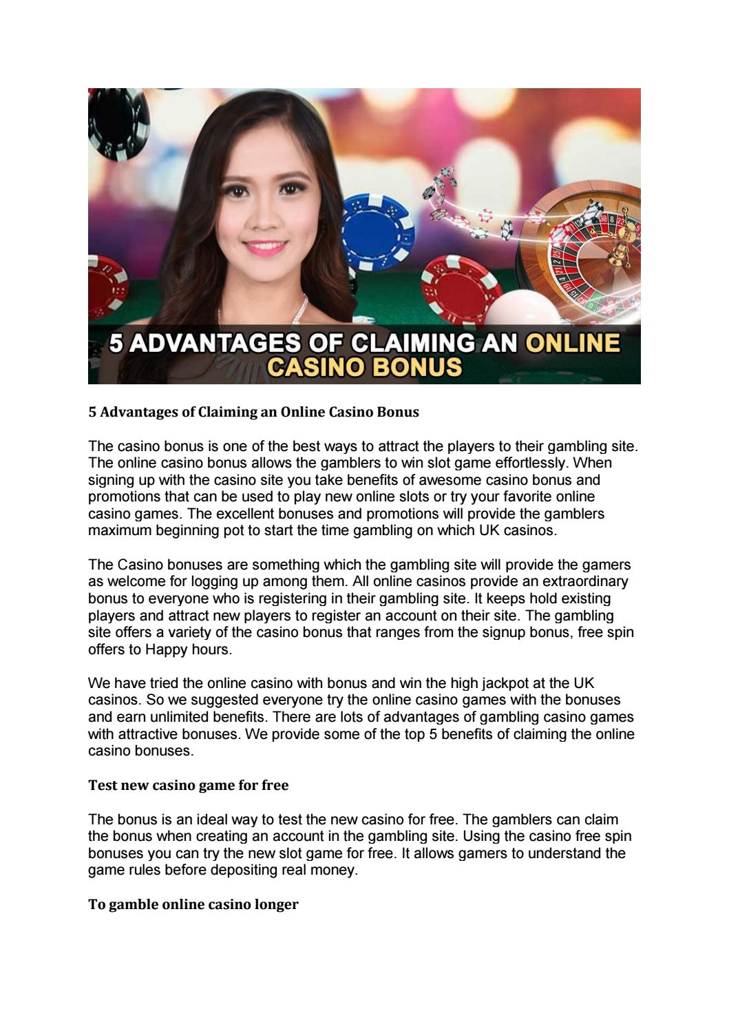 5 Advantages Of Claiming An Online Casino Bonus By Playleon Issuu