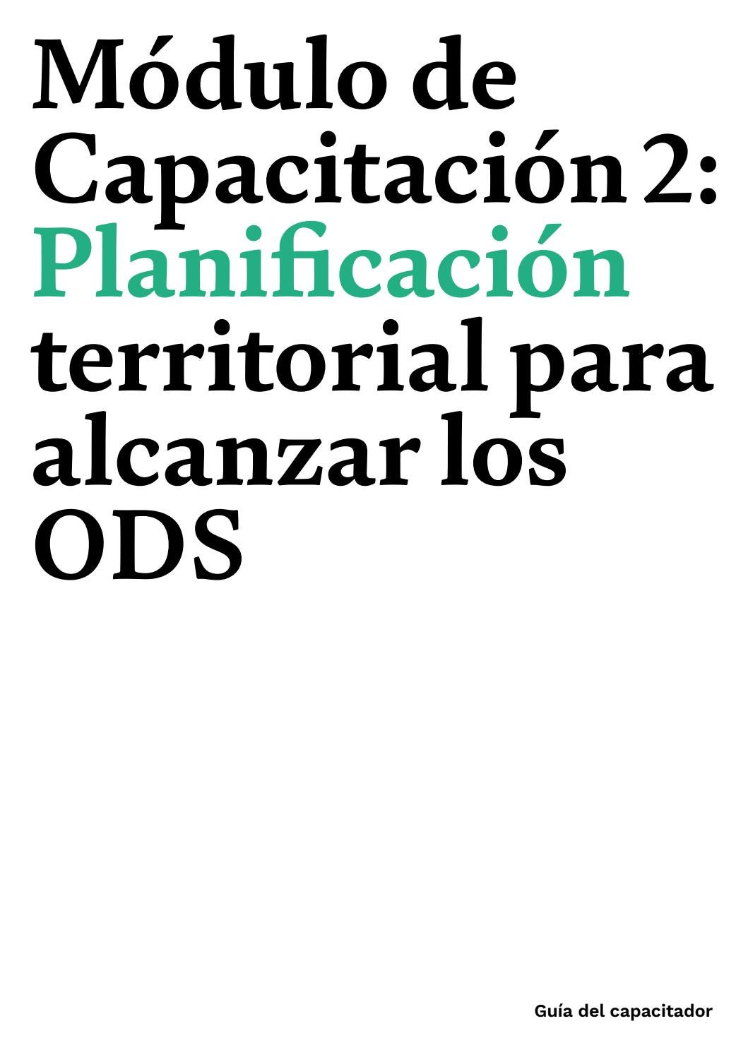 Módulo De Capacitación 2 Planificación Territorial Para