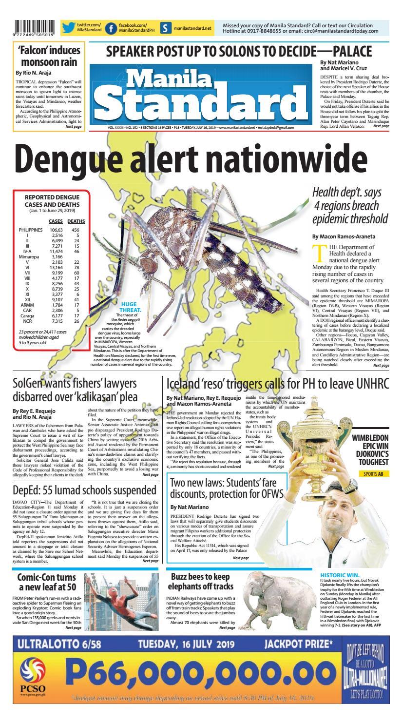 Manila Standard - 2019 July 16 - Tuesday by Manila Standard
