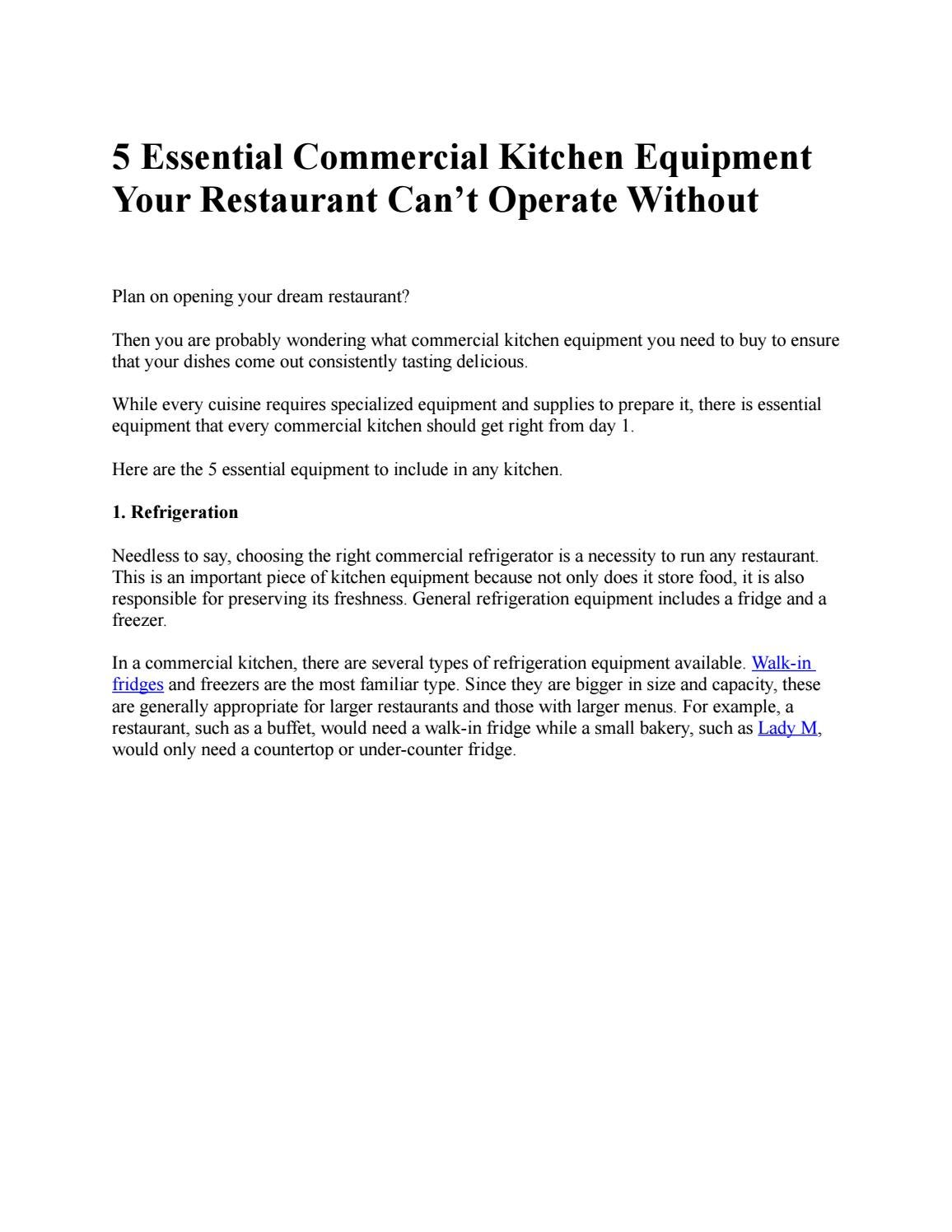 5 Essential Commercial Kitchen Equipment Your Restaurant Can T