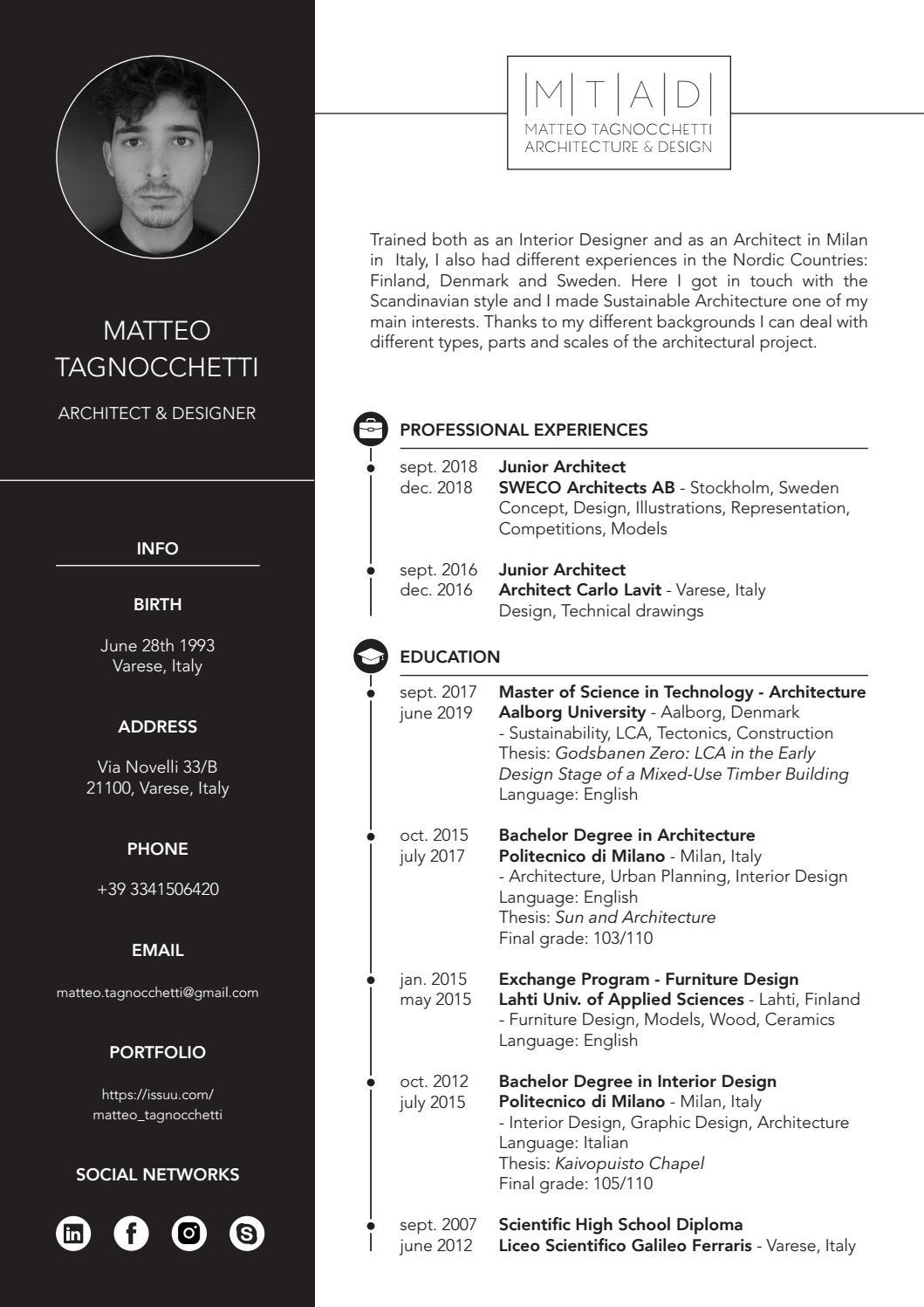 Cv Curriculum Vitae By Matteo Tagnocchetti Issuu