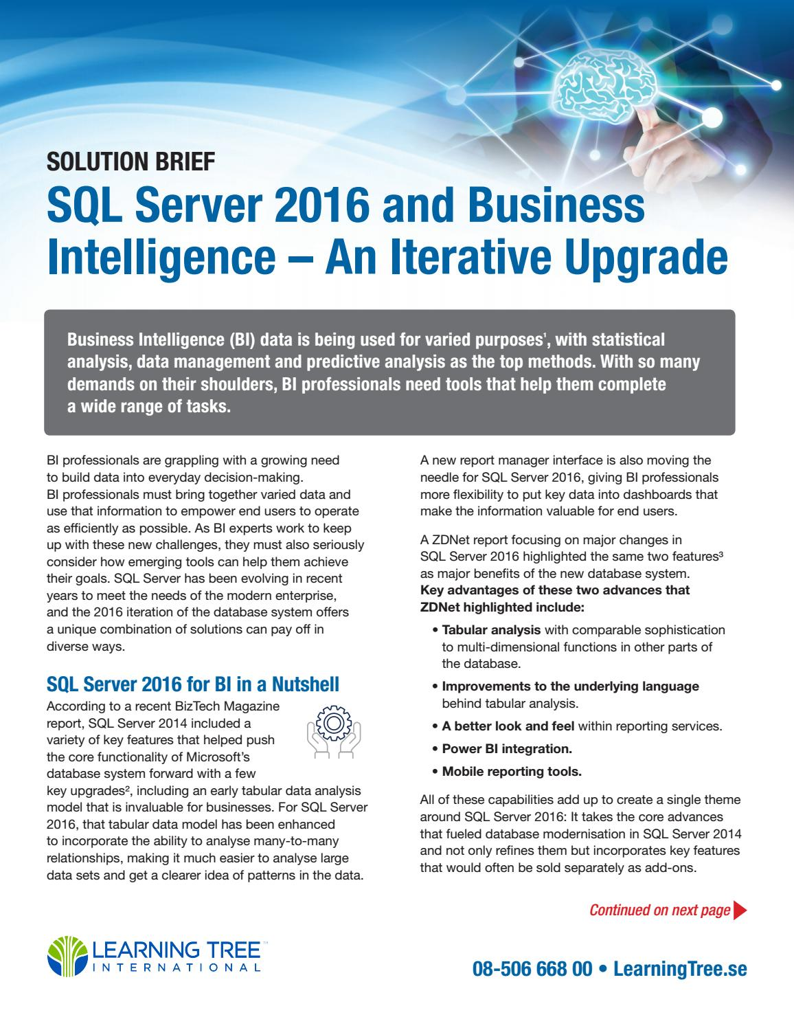 SQL Server 2016 & Business Intelligence - An Iterative