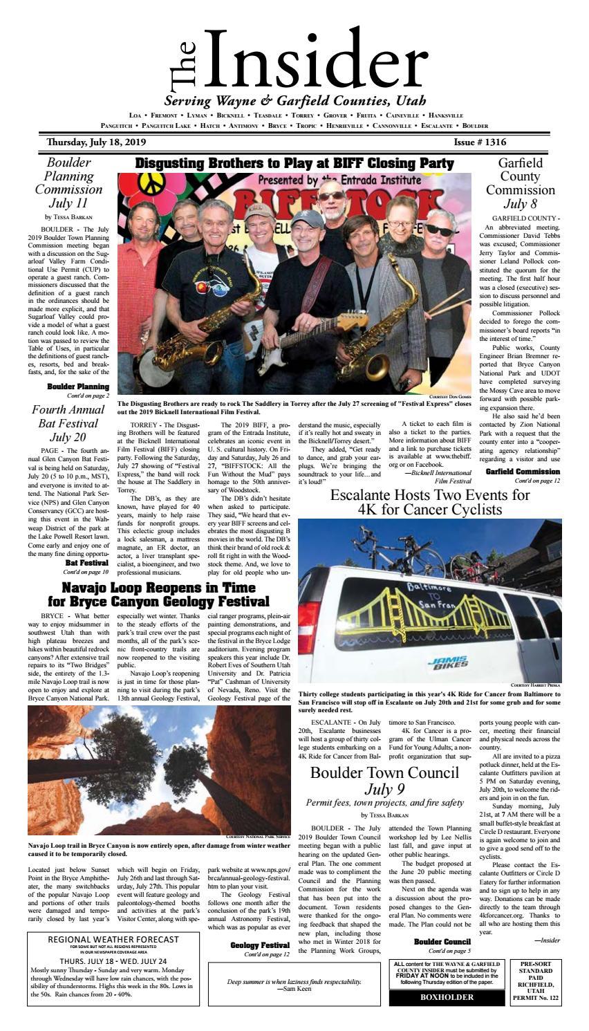 The Wayne & Garfield County Insider July 18, 2019 by