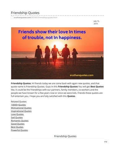 Friendship Quotes by sruthanquotes - issuu