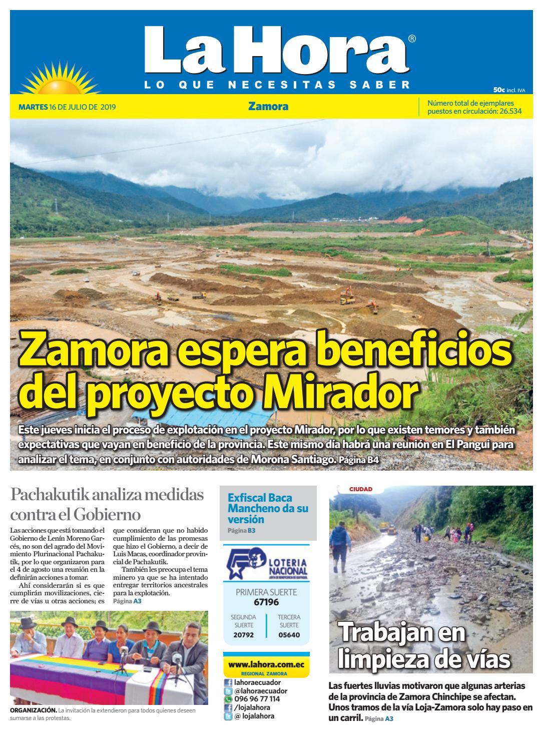 f971367ac674 Diario La Hora Zamora 16 de julio 2019 by Diario La Hora Ecuador - issuu