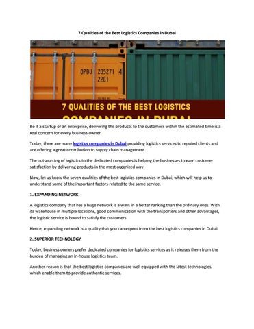 7 Qualities of the Best Logistics Companies in Dubai by mzco