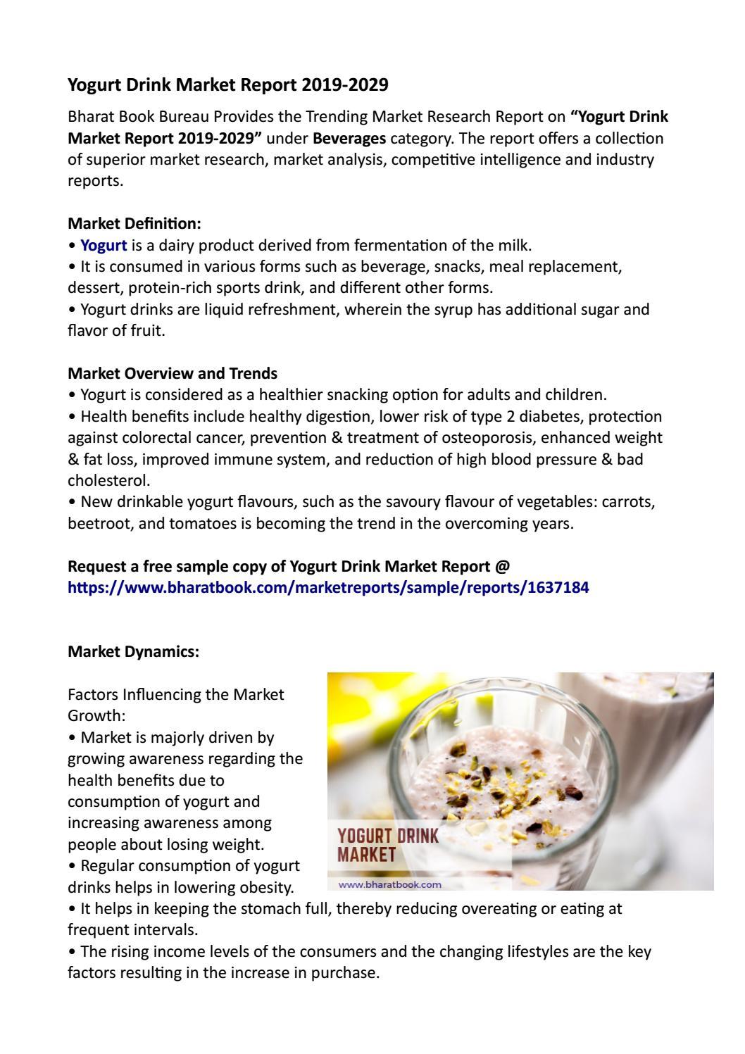 Yogurt Drink Market Research Report 2019-2029 by Bharat Book