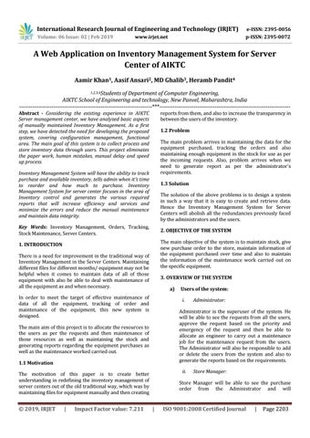 IRJET- A Web Application on Inventory Management System for Server Center  of AIKTC