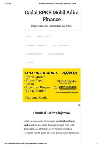 Simulasi Kredit Pinjaman Gadai BPKB Mobil Adira Finance by ...