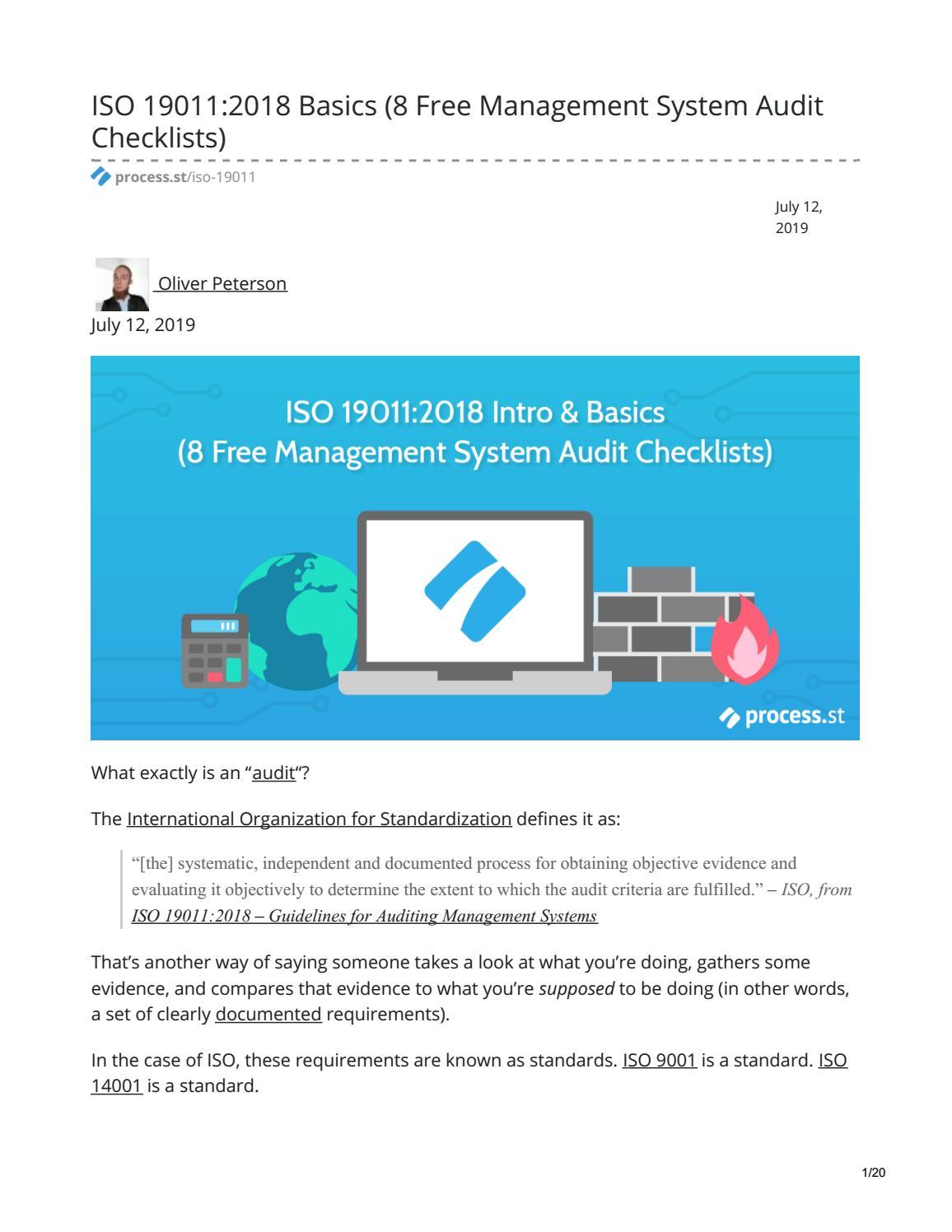 ISO 19011:2018 Basics (8 Free Management System Audit Checklists)