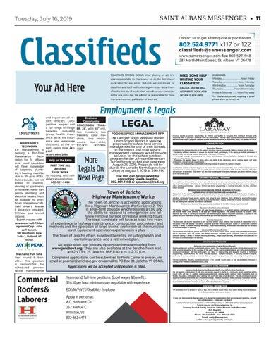 7/16/19 Classifieds