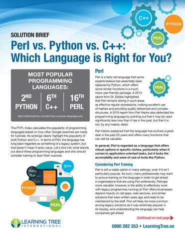 Perl vs  Python vs  C++: Which Language is Right for You SE Edition