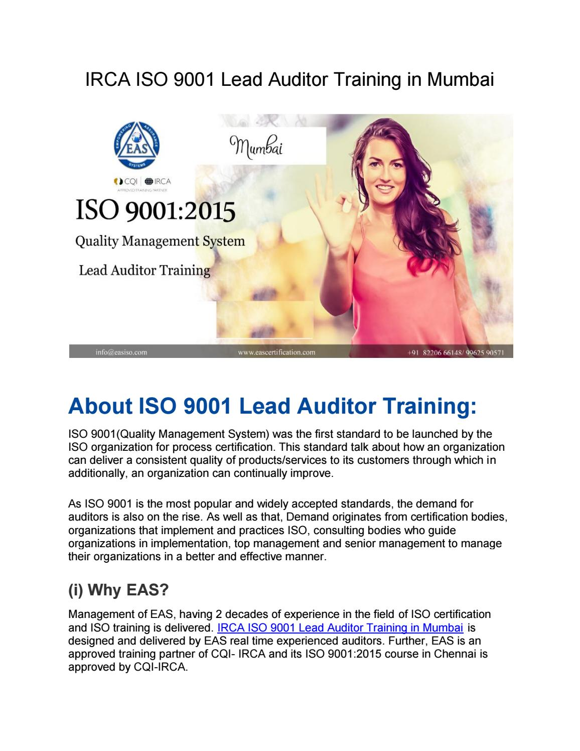 IRCA ISO 9001 Lead Auditor Training in Mumbai by eas