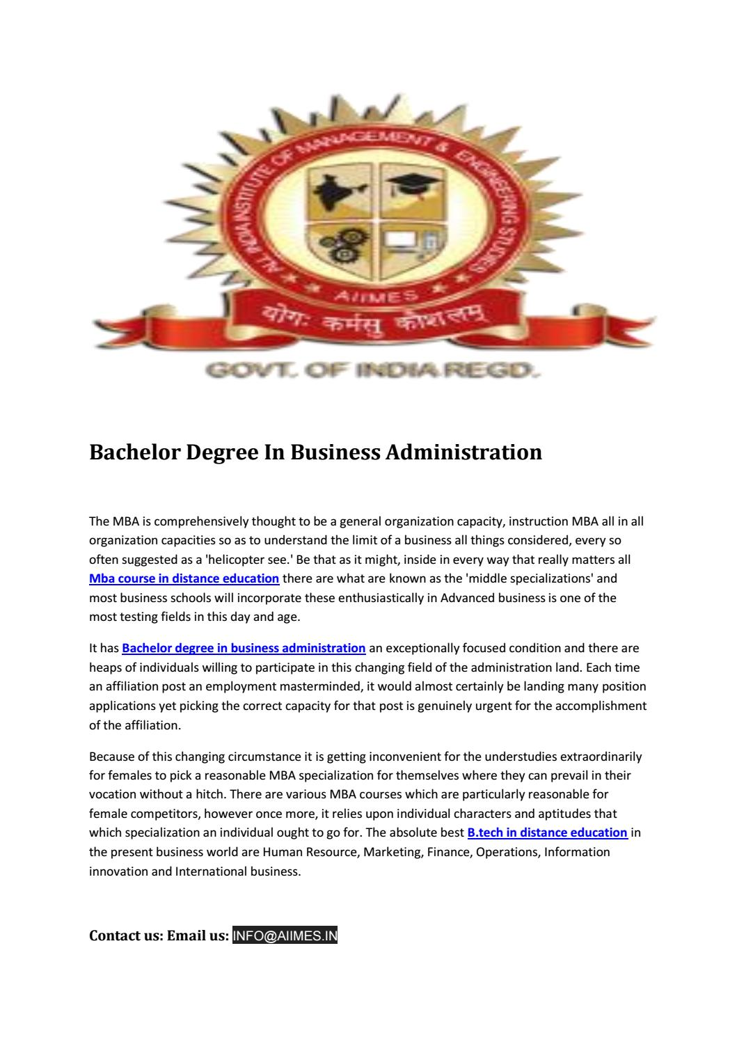 Bachelor Degree In Business Administration By Mba Course In Distance Education Issuu