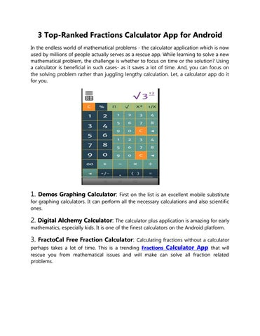 Fractions Calculator App for Android by FractoCal Free