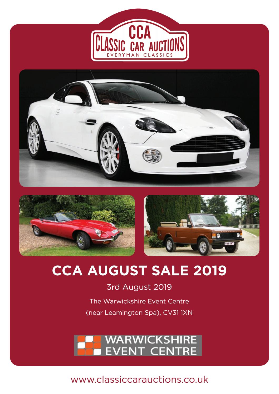 Voa Auto Auction >> Cca 3rd August Sale 2019 Classic Car Auctions By