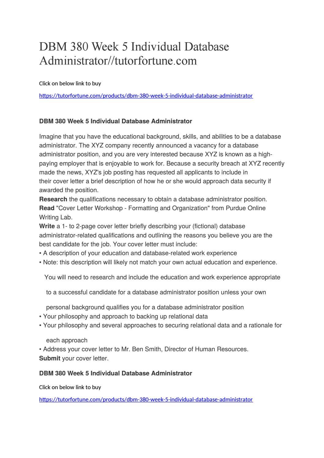 DBM 380 Week 5 Individual Database Administrator ...