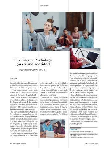 Page 66 of El Máster en Audiología ya es una realidad impartido por LYCEUM y la UEMC