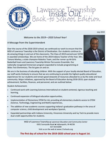 LT Back to School 2019 by MSD of Lawrence Township - issuu