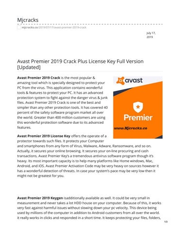 Avast Premier 2019 Crack Plus License Key Full Version