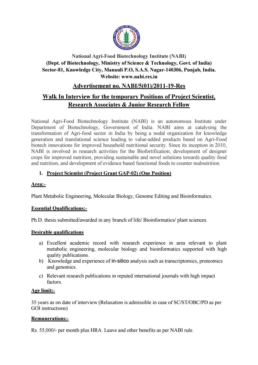 NABI Life Sciences Project Scientist/RA & JRF Jobs With Rs